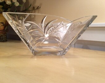 Block Lead Crystal Bowl Handcrafted  Nassau Pattern