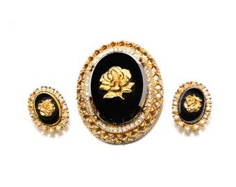 Celebrity Rose Cameo Pendant Brooch Earrings Set, Gold Tone Set on Jet Black