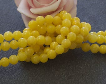 x 20 round 6 mm PEJ122 yellow mountain jade beads