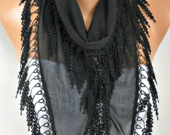 Mother's day Gift,Black Cotton Scarf,Necklace Shawl Cowl Bridesmaid Gift Ideas For Her Women Fashion Accessories Women Scarves Birthday Gift