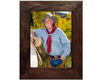 Rustic Distressed Wood Picture Frame with Dark Walnut Stain and Dark Glaze - Sedona