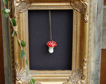 Fly Agaric fungi (amanita muscaria) -  pendant