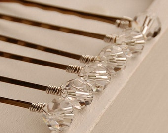 Swarovski Clear Crystal Bobby Pins, Round Clear Crystals, 8 mm on Bronze Hair Pins, Set of 6, Clear Crystal Hair Pins, Bridal Hair Pins