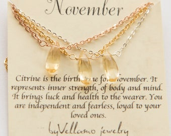 November citrine birthstone necklace, gemstone Necklace, Yellow citrine Gold Necklace, November Birthstone Jewelry Gold Necklace for mother