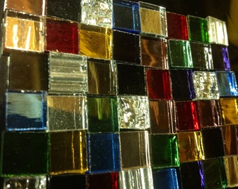 100 JACOB'S COAT MIRROR Mix Colored Stained Glass Mosaic Tile M3