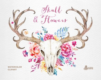 Skull & Flowers. Watercolor skulls with antlers and flowers, hand painted, peonies, floral, invite, tribal, diy, flowers, boho deer