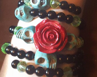 Skull, Day of the dead, Dia de los Muertos, Skull bracelet, Ready to ship, Skull jewelry, Wire wrap