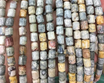 6x8mm Sky Eye Jasper Beads, Natural Gemstone Beads, Barrel Beads, Smooth Beads 15''