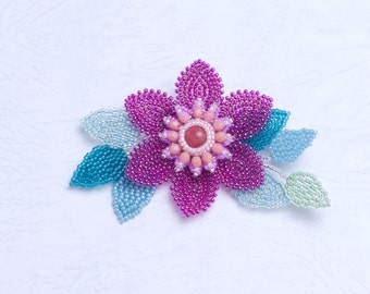 Red flower brooch pin, floral brooch, beaded brooches for dresses, fancy brooch, clematis, 369