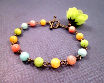 Gemstone Bracelet, Colorful Quartzite and Brass Beaded Bracelet, Fabric Flower Charm and Heart Bracelet, FREE Shipping U.S.