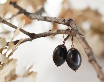 Brown wooden oval earrings wooden earrings wooden jewelry copper earrings nature earrings botanical jewelry autumn jewelry wood boho earring