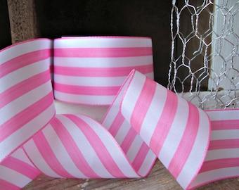 Pink and White Stripe Ribbon