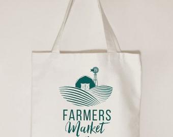 Farmers Market, Tote bag, Market day tote, Farm stall, gift idea, Cotton canvas tote bag, pumpkin design, cherry design, Cream tote bag
