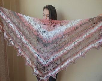 Lace shawl mohair yarn hand knitted shawl Triangular shawl, hand knitted