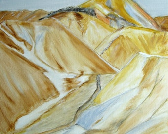 """Iceland Mountains Painting Original Painting Canvas Art Iceland Landscape Painting Colorful Mountains Painting Natural Colors Acrylic 13x13"""""""