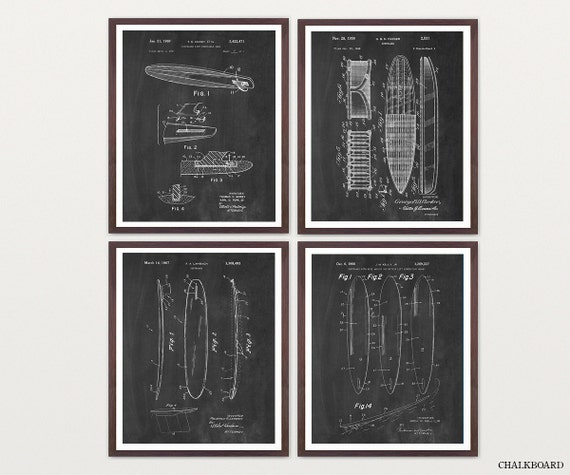 Surfboard Art - Surfing Patent Collection - Surfboard Patent - Surf Art - Surfing Poster - Surfing Wall Art - Surfboard Wall Art - Surfing