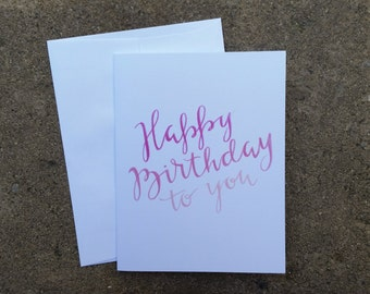 Happy Birthday Card, Set of 4, Hand Lettered Card, Calligraphy