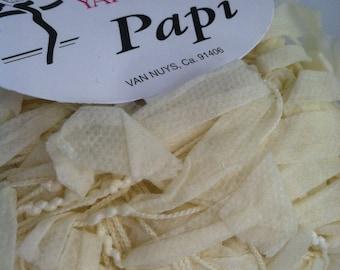Trendsetter Papi #125 Ecru Paper Ribbon Flag Yarn 25 grams 71 yards Cream White Great for Fiber Necklaces Felting, Valentines Component Yarn