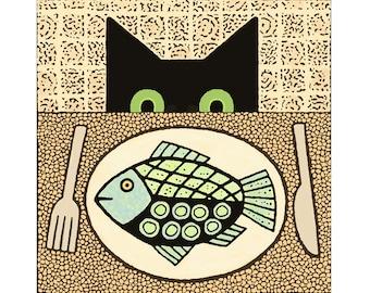 Print - Cat and Fish Dinner  -  Virginia Miska Cat Art Print