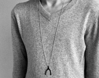 Men's Wishbone Necklace,Pendant, Men's Silver Necklace Pendant, Mens Jewelry Mens Gift