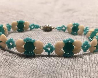 Turquoise and Ivory Honeycomb Bracelet
