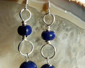 Handmade semi precious Lapis Lazuli gemstone and Sterling silver drop earrings