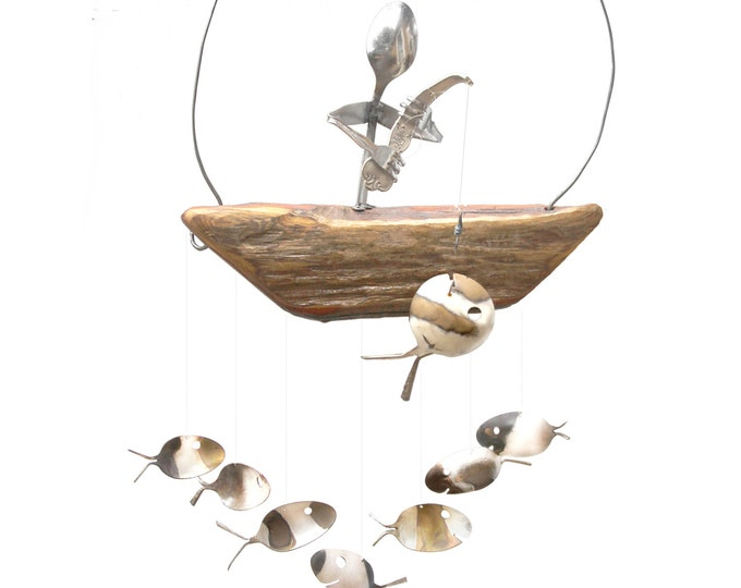 Rustic Fall Fisherman And Spoon Fish Wind Chime,hostess Thankgiving, Unique Gift