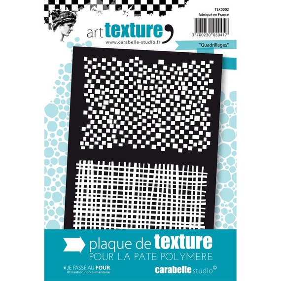 Grids - Quardrillages, an unmounted Art texture stamp great for polymer clay and other crafts