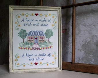 Framed Cross Stitch Embroidery Wall Hanging , House & Home Quote Needlework , Distressed Wood Frame , Housewarming Gift , Farmhouse Decor