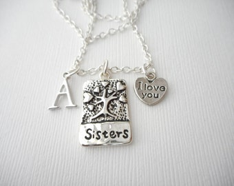 Sisters, I Love You- Initial Necklace/ Sister jewelry gift, message jewelry, lil sis big sis, big sister, little sister, sister quote