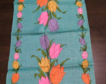 Vibrant Tulips on Teal Blue/Green Linen Tea Towel