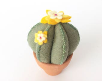 sage green felt cactus pincushion with little yellow flowers