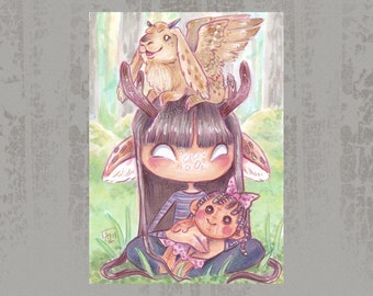 Skvader and antler girl - Original ACEO, Copic marker drawing