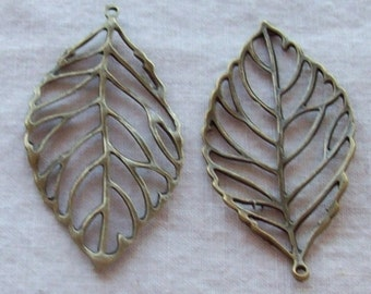 Antique Bronze Leaf Pendants - 55 x 27 mm  - Set of 12
