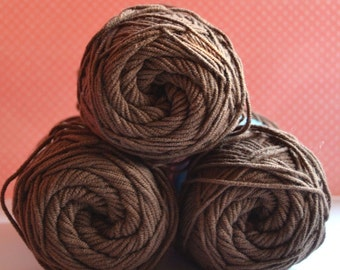 Kacenka - soft cotton/acrylic yarn for crochet and knitting, Dark chocolate color, No. 7894, 1 ball/50 g, Producer NCT