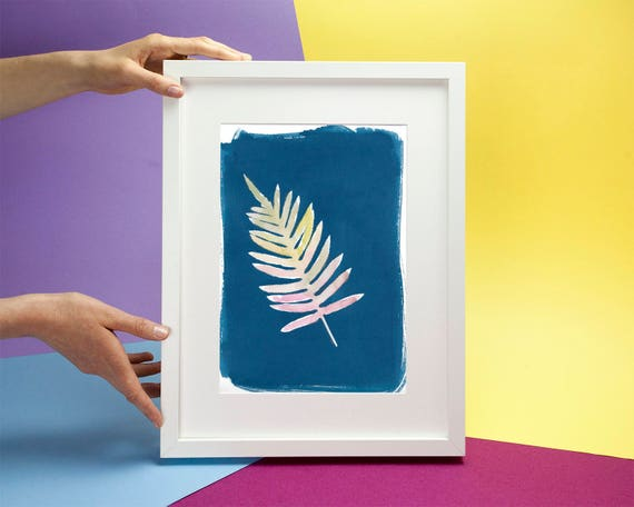 Beautiful Hand Painted Watercolor Leaf on Cyanotype Print