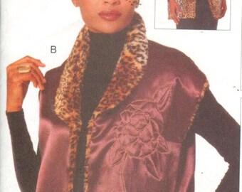 """Vogue 9706, Sz 8-18/Bust 31.5-40"""". Vintage 90s EASY Reversible FUR Vest/Pieced Vest, Vogue Creative Clothing pattern"""