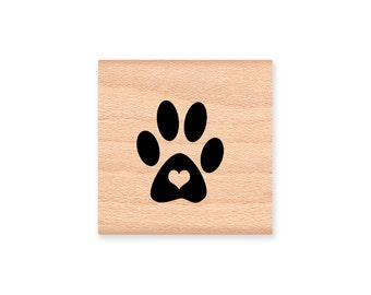 HEART PAW PRINT-wood mounted rubber stamp-(mcrs 19-20)