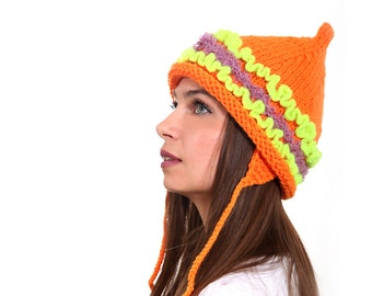 Orange Tatarka Hand Knit Hat, Pointed Hat by Solandia, Women Girl Teen Hat, neon stripes, trendy winter fashion, knitted gift, quality knit