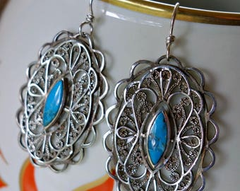 Filigree Turquoise Sterling Earrings