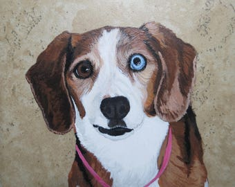 Pet Portrait 6 x 6 inch Ceramic Tiles Hand Painted and Made to Order using your photo Beagle by Shannon Ivins