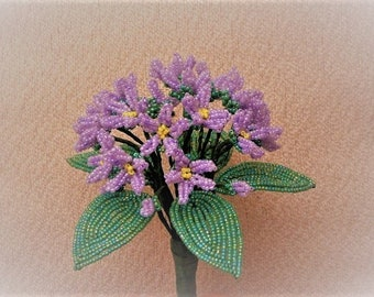 French Beaded Flowers...Handmade Purple/ lavender Sweet Violet Bouquet