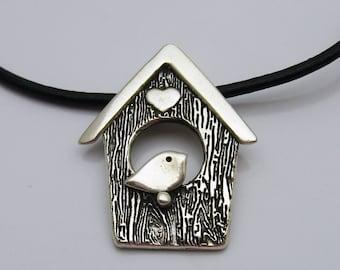 Handmade Silver Bird House Necklace, Bird Jewelry, Birdhouse Jewelry, Silver and Leather, Black Leather Cord Necklace, Bird Lover Necklace