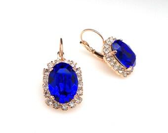 wedding bridal earrings party bridesmaid gift prom swarovski majestic royal blue oval clear halo crystal rhinestone rose gold leverback hook