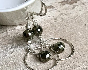 Sterling Silver and Pyrite Circle Dangle Drop  Earrings for Her   Under 70 One of a kind Lightweight Mom Sister Friend Gift