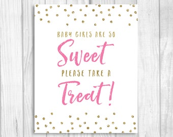 Baby Girls Are So Sweet Please Take A Treat 5x7, 8x10 Printable Baby Shower Favor Table Sign in Medium Pink and Gold Glitter Polka Dots