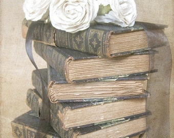 """Book Art, French Country Photo, Vintage Book Print, Shabby Cottage Chic Old Books, Rustic Beige Library Office Decor- """"Shakespeare Stack"""""""