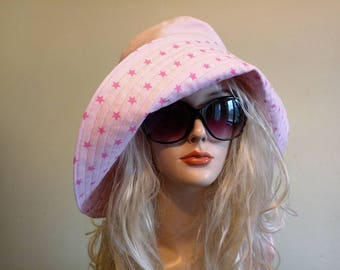 Rosy linen sunset hat, pink cotton travel  summer hat, star summer hat, wide brimmed summer hat, cotton sunhat, beach wear, Active style hat