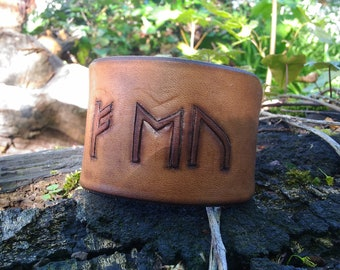 Leather Bracelet simple with runes