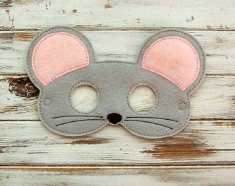 Mouse Mask - Felt - Kids Mask - Animal Mask - Dress Up - Halloween - Pretend Play